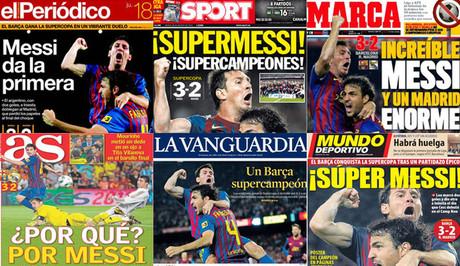 Hiszpańska prasa wychwala Messiego, oskarża Mourinho