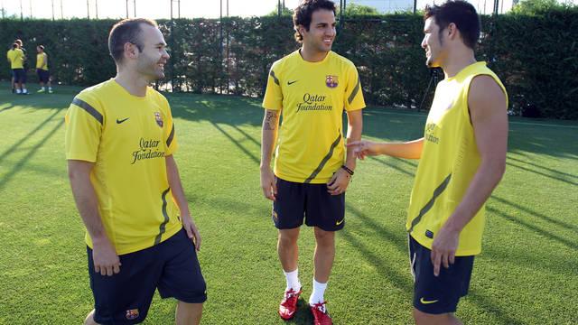 Iniesta i Cesc trenowali z grupą