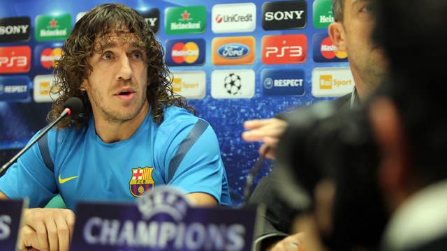 Puyol na konferencji prasowej przed meczem z Milanem