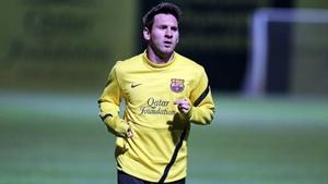 Lekki trening Messiego po przybyciu do Barcelony