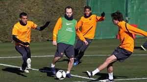 Pedro i Iniesta trenowali z resztą grupy
