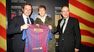 Sebastian Vettel obecny na Camp Nou