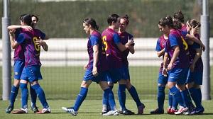 Piłkarki Barcelony aplikuja manitę Transportes Alcaine