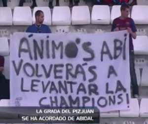 Wsparcie dla Abidala na trybunach Sánchez Pizjuán