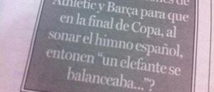 """""""Huśtający się słonik"""" zamiast hymnu Hiszpanii"""