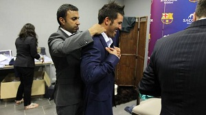 Piłkarze testują nowe garnitury