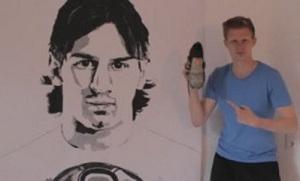 Namalował portret Messiego… butem