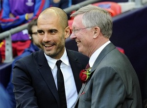Pep Guardiola na spotkaniu z Alexem Fergusonem