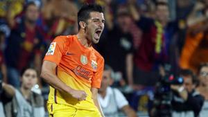 Villa i Xavi po meczu