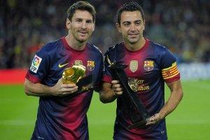 Messi i Xavi prezentują swoje nagrody na Camp Nou