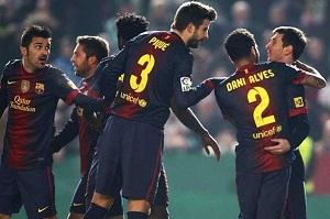 Alex Song, David Villa, Dani Alves, Gerard Pique, Jordi Alba, Dani Alves, Leo Messi