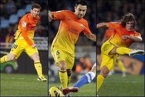 Puyol, Xavi i Messi po meczu
