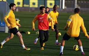 Thiago, Cesc i Abidal na treningu