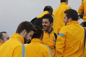 David Villa, Gerard Pique, Alex Song, Jordi Alba, Andres Iniesta - w drodze do Malagi