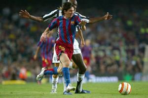 Leo Messi w meczu o Puchar Gampera z Juventusem Turyn w 2005 roku
