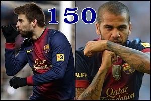 Piqué i Dani Alves 150!