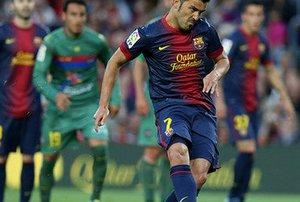 David Villa wykonujący rzut karny przeciwko Levante.