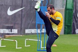 Javier Mascherano podczas treningu w Ciutat Esportiva.
