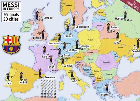 bramki Leo Messiego w Europie