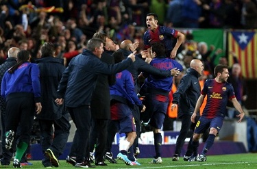 Pedro - celebracja bramki przeciwko PSG