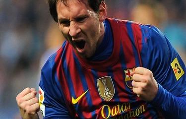 Leo Messi cieszy się z gola