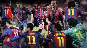 Zawodnicy Barçy grający z numerem 11
