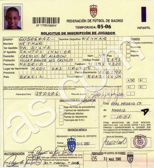 Dokument potwierdzający, że Neymar mogł być zawodnikiem Realu Madryt w marcu 2006