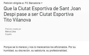Petycja o nazwanie Ciutat Esportiva imieniem Tito Vilanovy