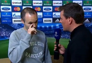 Dani Alves, Bartra, Iniesta i Alba po meczu