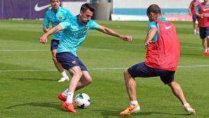 Piqué i Alba trenowali na boisku