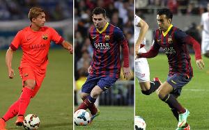 Gerard Deulofeu, Leo Messi i Pedro gotowi do gry w ataku