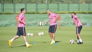 Messi, Mascherano i Alves na treningu