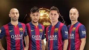 Czterech piłkarzy Barcelony nominowanych do Złotej Piłki 2014