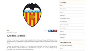 Valencia ukarze osobę, która rzuciła butelką w Messiego