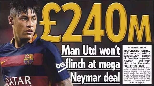 Sprowadzenie Neymara może kosztować Manchester ponad 300 milionów euro