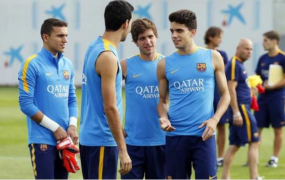 Masip, Sergi Roberto i Bartra na treningu