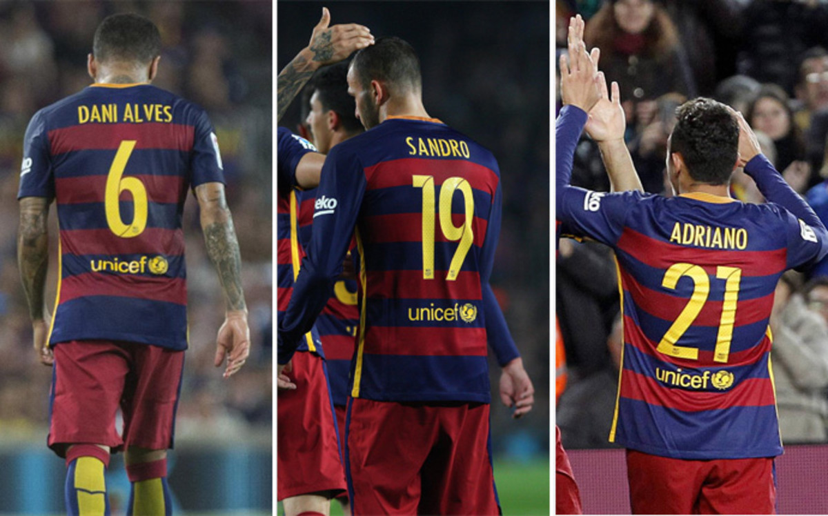 Barça może stracić 18 milionów euro na odejściu Alvesa, Sandro i Adriano